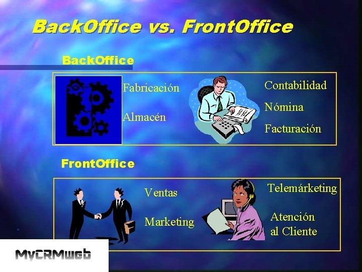 Back. Office vs. Front. Office Back. Office Fabricación Almacén Contabilidad Nómina Facturación Front. Office