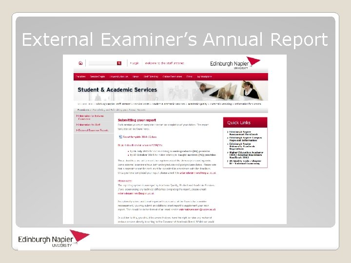 External Examiner's Annual Report