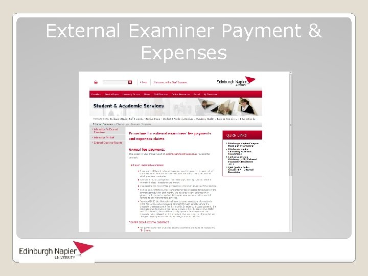 External Examiner Payment & Expenses