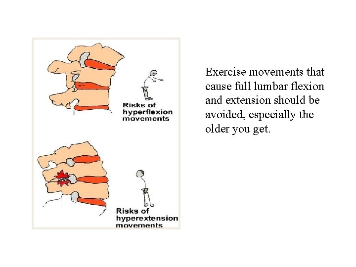 Exercise movements that cause full lumbar flexion and extension should be avoided, especially the