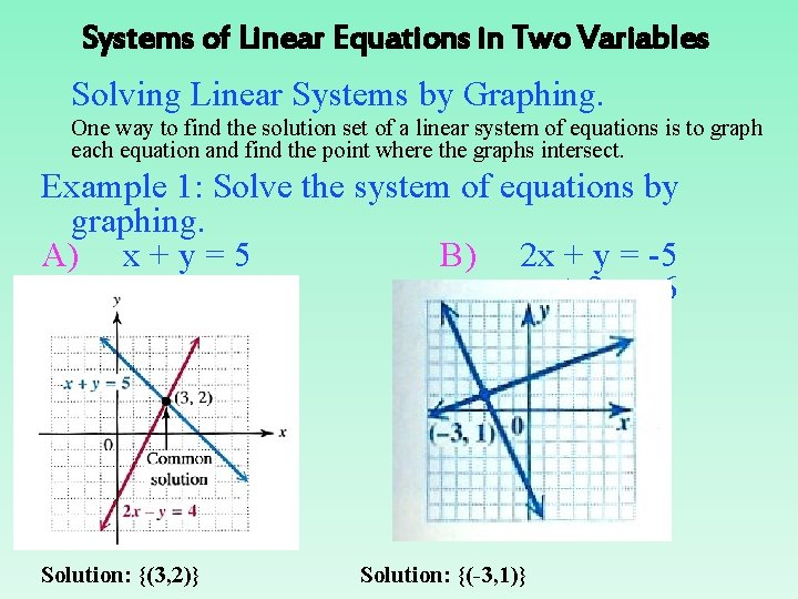 Systems of Linear Equations in Two Variables Solving Linear Systems by Graphing. One way