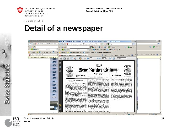 Federal Department of Home Affairs FDHA Federal Statistical Office FSO Detail of a newspaper