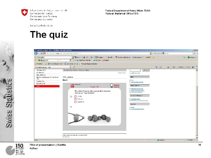 Federal Department of Home Affairs FDHA Federal Statistical Office FSO The quiz Title of