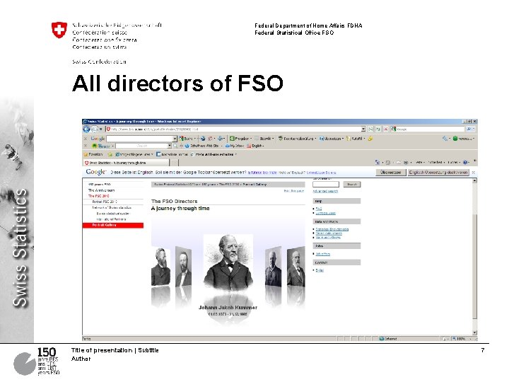 Federal Department of Home Affairs FDHA Federal Statistical Office FSO All directors of FSO