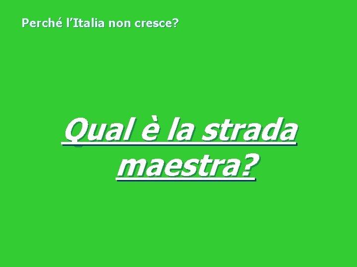 Perché l'Italia non cresce? Qual è la strada maestra?