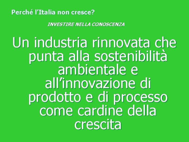 Perché l'Italia non cresce? INVESTIRE NELLA CONOSCENZA Un industria rinnovata che punta alla sostenibilità