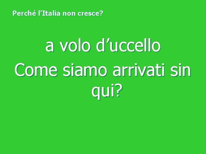 Perché l'Italia non cresce? a volo d'uccello Come siamo arrivati sin qui?