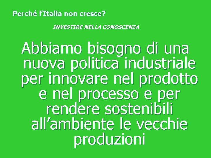 Perché l'Italia non cresce? INVESTIRE NELLA CONOSCENZA Abbiamo bisogno di una nuova politica industriale