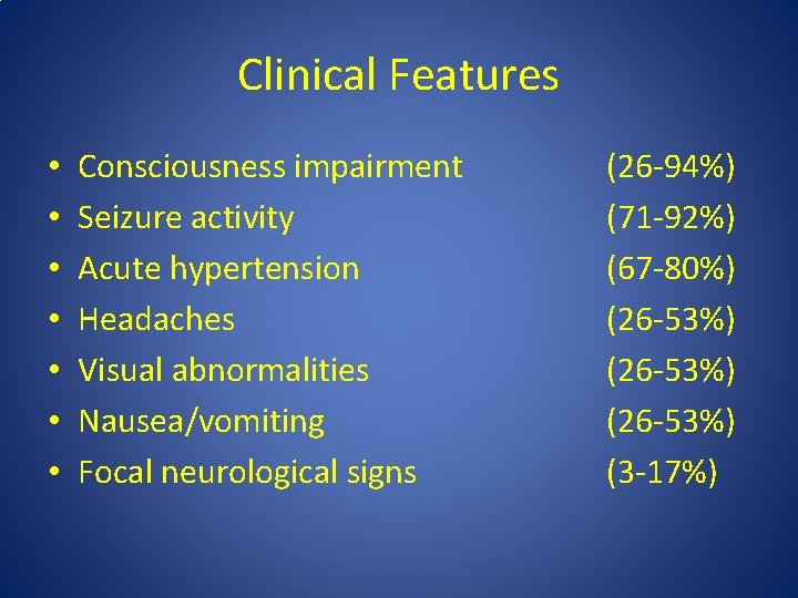Clinical Features • • Consciousness impairment Seizure activity Acute hypertension Headaches Visual abnormalities Nausea/vomiting