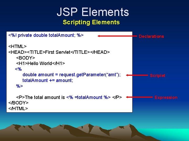 JSP Elements Scripting Elements <%! private double total. Amount; %> <HTML> <HEAD><TITLE>First Servlet</TITLE></HEAD> <BODY>