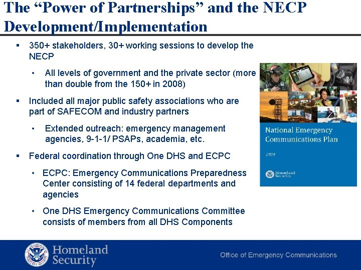 "The ""Power of Partnerships"" and the NECP Development/Implementation § 350+ stakeholders, 30+ working sessions"