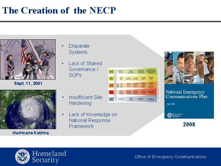 The Creation of the NECP • Disparate Systems • Lack of Shared Governance /
