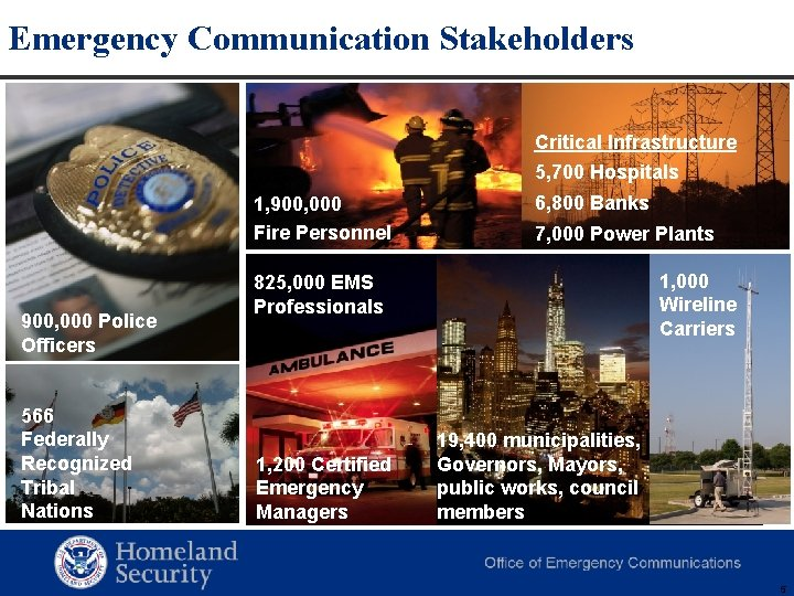 Emergency Communication Stakeholders Critical Infrastructure 5, 700 Hospitals 1, 900, 000 Fire Personnel 900,