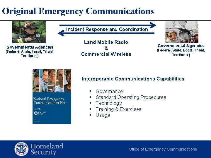Original Emergency Communications Incident Response and Coordination Governmental Agencies (Federal, State, Local, Tribal, Territorial)
