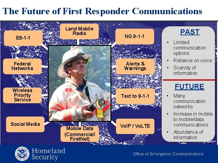 The Future of First Responder Communications E 9 -1 -1 Land Mobile Radio PAST