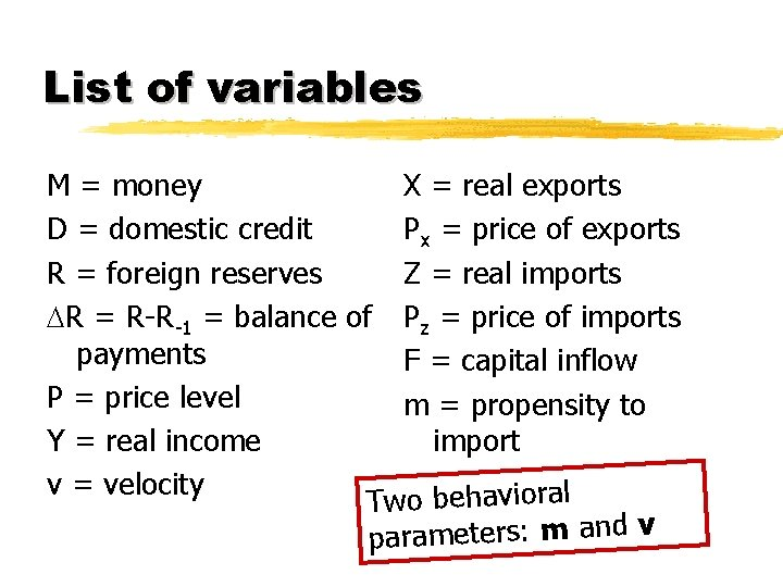List of variables M = money X = real exports D = domestic credit