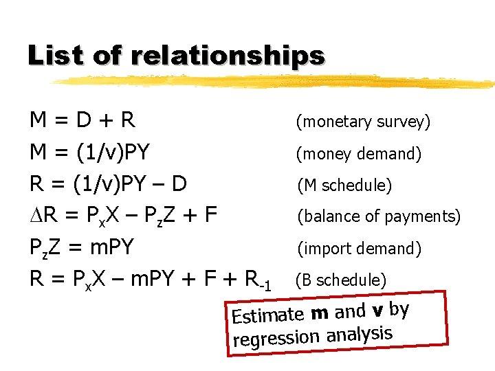 List of relationships M=D+R M = (1/v)PY R = (1/v)PY – D R =