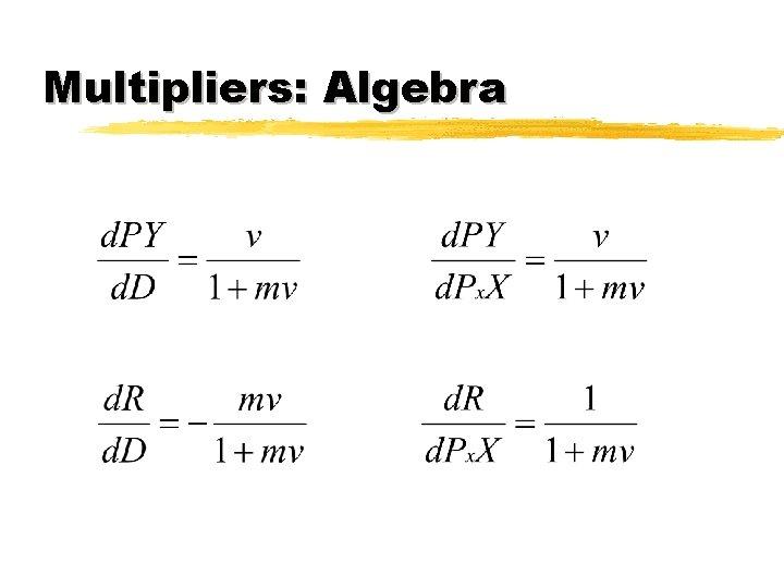 Multipliers: Algebra