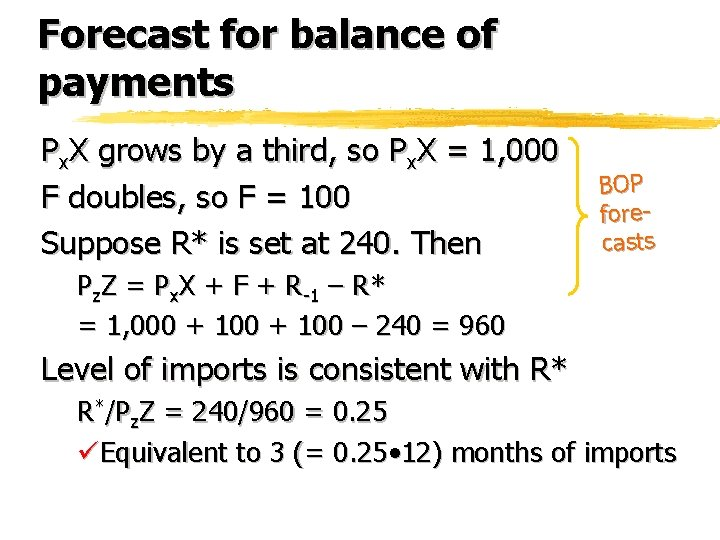 Forecast for balance of payments Px. X grows by a third, so Px. X