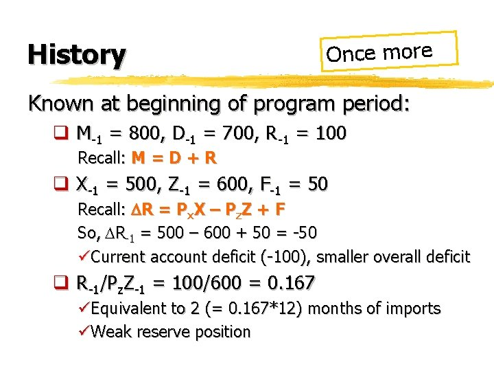 History Once more Known at beginning of program period: q M-1 = 800, D-1