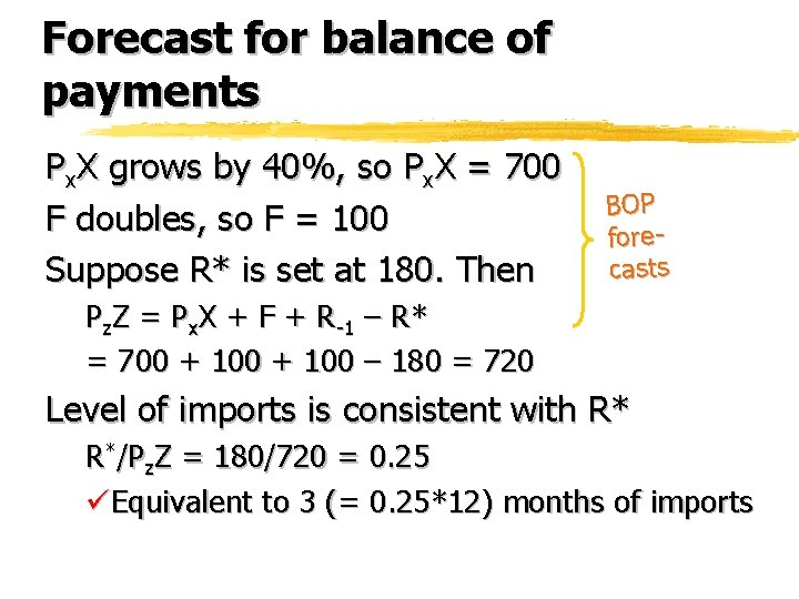 Forecast for balance of payments Px. X grows by 40%, so Px. X =