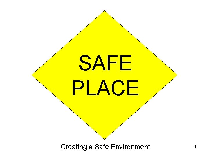 SAFE PLACE Creating a Safe Environment 1