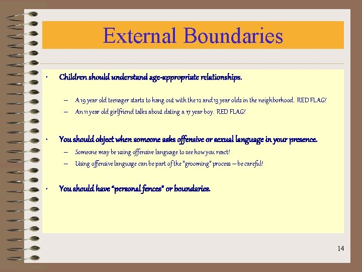 External Boundaries • Children should understand age-appropriate relationships. – A 19 year old teenager