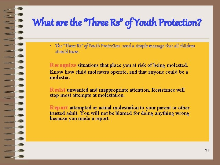 """What are the """"Three Rs"""" of Youth Protection? • The """"Three Rs"""" of Youth"""