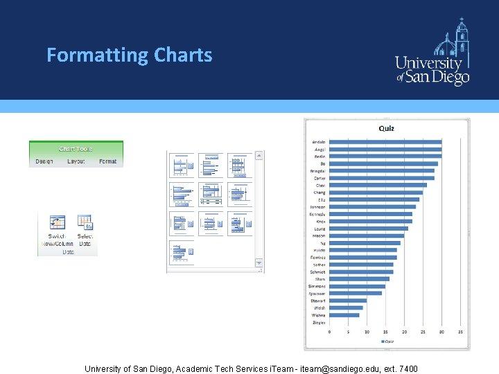 Formatting Charts University of San Diego, Academic Tech Services i. Team - iteam@sandiego. edu,