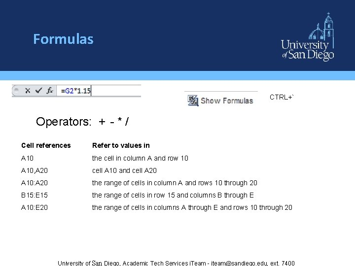 Formulas CTRL+` Operators: + - * / Cell references Refer to values in A