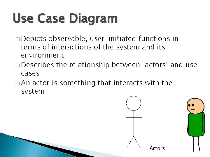Use Case Diagram � Depicts observable, user-initiated functions in terms of interactions of the
