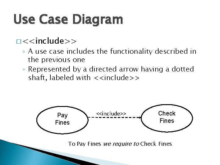Use Case Diagram � <<include>> ◦ A use case includes the functionality described in