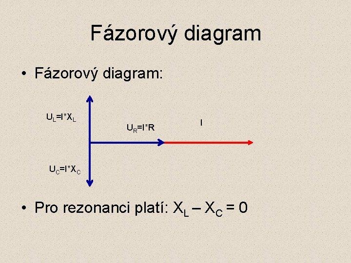 Fázorový diagram • Fázorový diagram: UL=I*XL UR=I*R I UC=I*XC • Pro rezonanci platí: XL