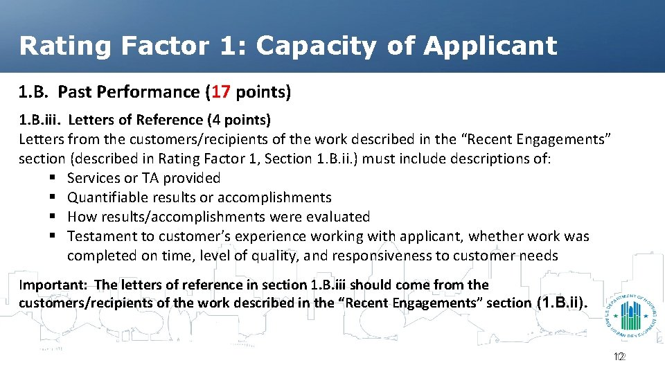 Rating Factor 1: Capacity of Applicant 1. B. Past Performance (17 points) 1. B.