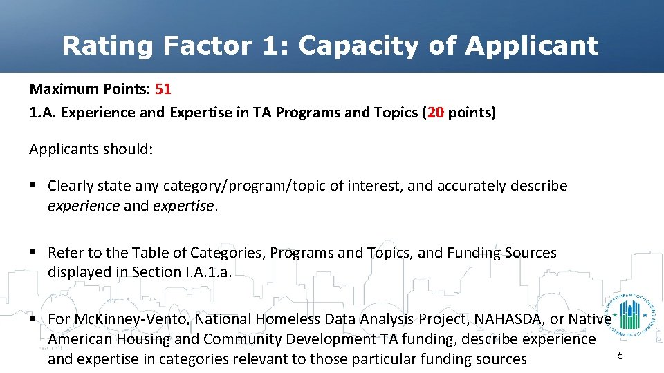 Rating Factor 1: Capacity of Applicant Maximum Points: 51 1. A. Experience and Expertise