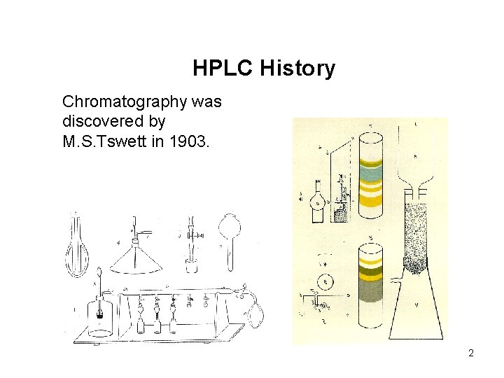 HPLC History Chromatography was discovered by M. S. Tswett in 1903. 2