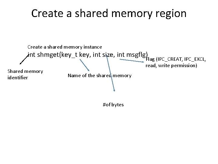 Create a shared memory region Create a shared memory instance int shmget(key_t key, int