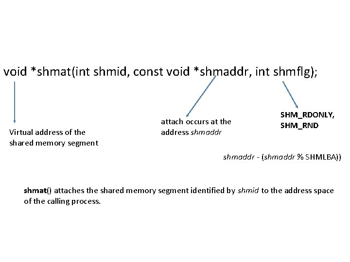 void *shmat(int shmid, const void *shmaddr, int shmflg); Virtual address of the shared memory