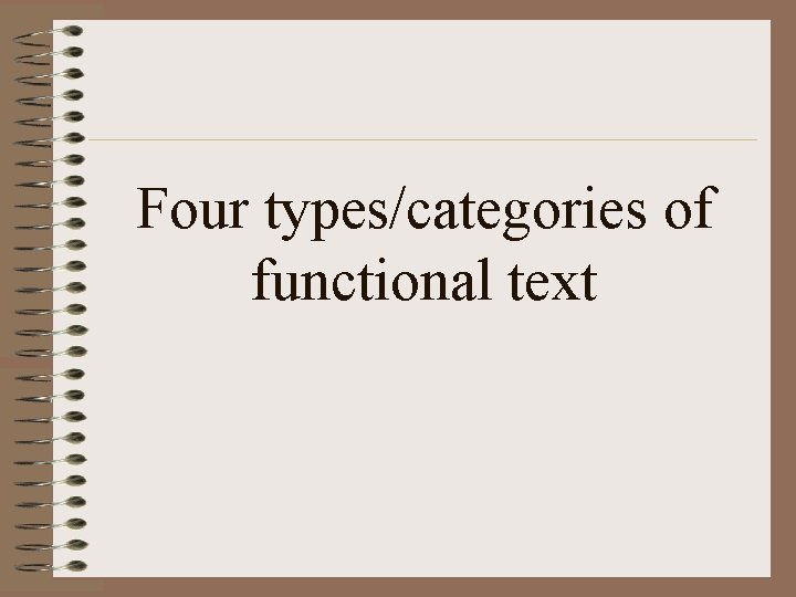 Four types/categories of functional text