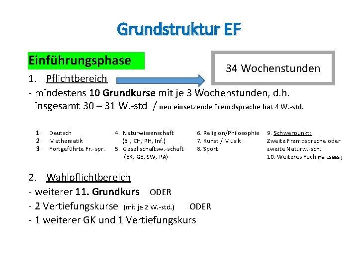 Grundstruktur EF Einführungsphase 34 Wochenstunden 1. Pflichtbereich - mindestens 10 Grundkurse mit je 3