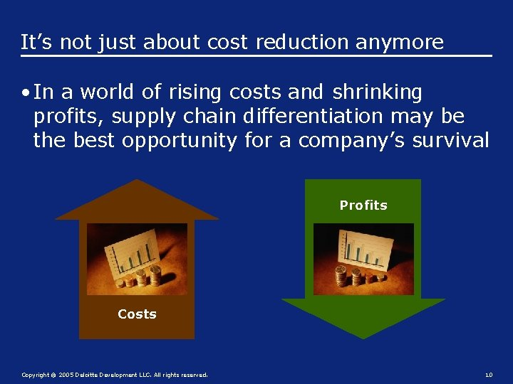 It's not just about cost reduction anymore • In a world of rising costs