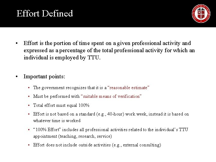 Effort Defined • Effort is the portion of time spent on a given professional