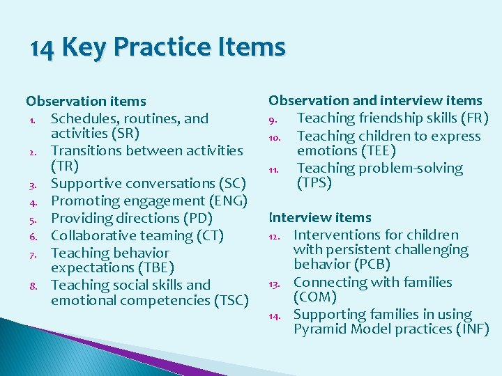14 Key Practice Items Observation items 1. Schedules, routines, and activities (SR) 2. Transitions