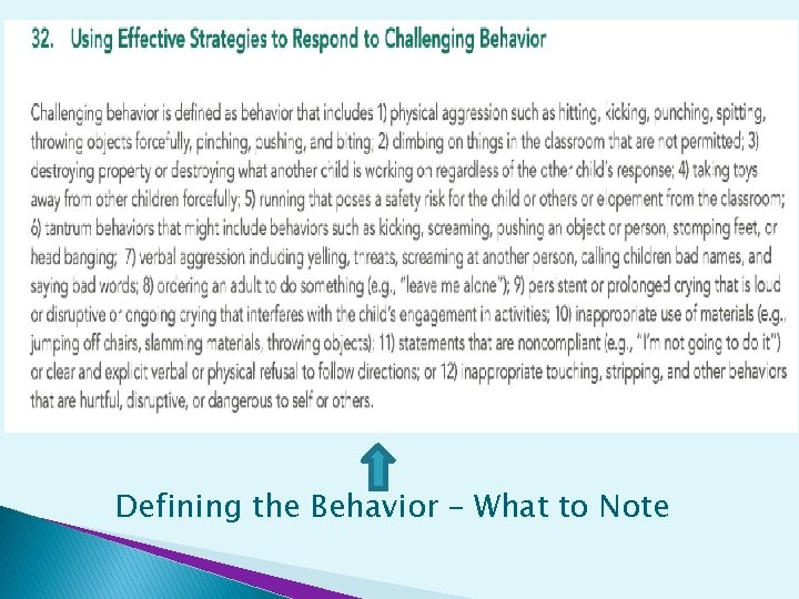 Defining the Behavior – What to Note