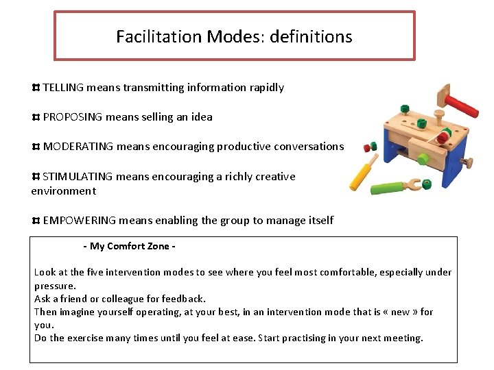 Facilitation Modes: definitions TELLING means transmitting information rapidly PROPOSING means selling an idea MODERATING