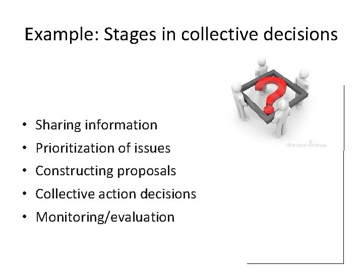 Example: Stages in collective decisions • • • Sharing information Prioritization of issues Constructing