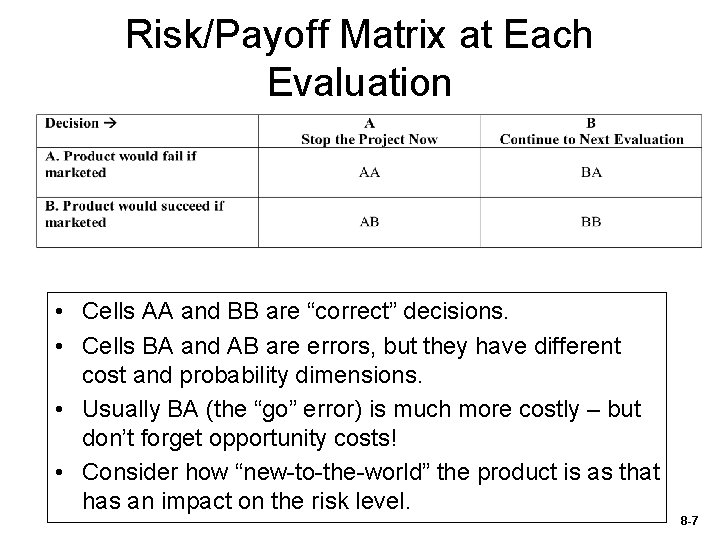 """Risk/Payoff Matrix at Each Evaluation • Cells AA and BB are """"correct"""" decisions. •"""