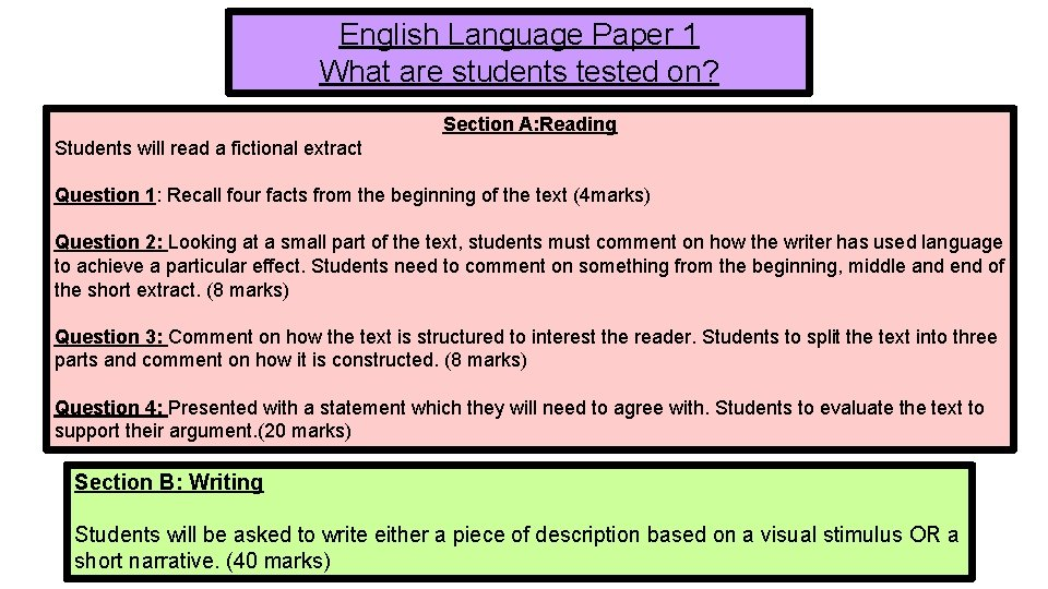 English Language Paper 1 What are students tested on? Section A: Reading Students will