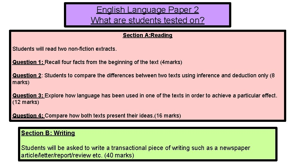English Language Paper 2 What are students tested on? Section A: Reading Students will