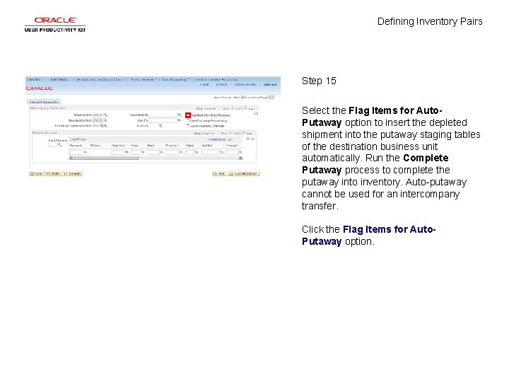 Defining Inventory Pairs Step 15 Select the Flag Items for Auto. Putaway option to